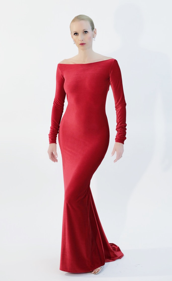 Couture Red Velvet Gown – BABETTE BROWN